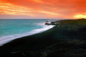 SUNSET OVER LAVA FIELDS,BIG ISLAND, HAWAII